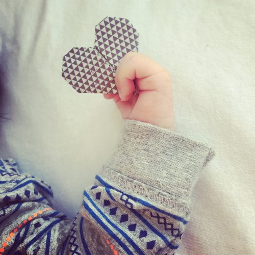origami heart and baby